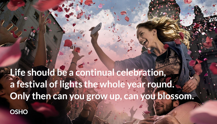 blossom celebration continual festival grow life lights osho year