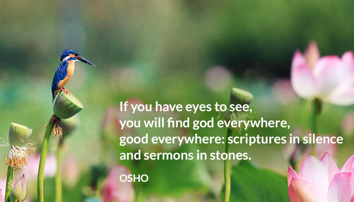 everywhere eyes find god good osho scripture sermons silence stones
