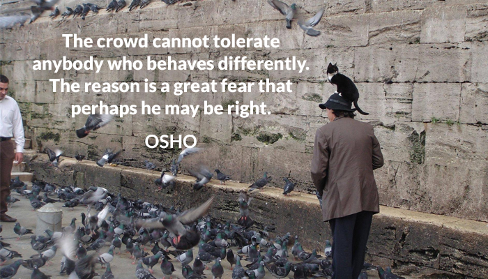 behaves cannot crowd differently fear osho tolerate
