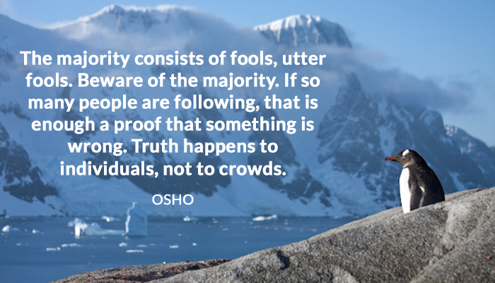 crowds following fools happens individual majority osho proof truth wrong